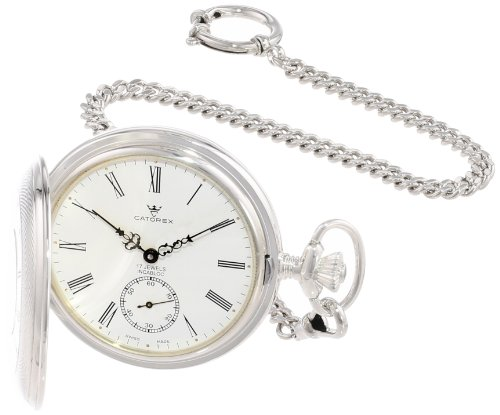 Catorex Men's 171.2.1642.110 Argent Massif 925 Sterling Silver Front Window Dial Pocket Watch