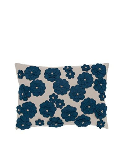 Cloud 9 Felt Daisy Lumbar Pillow, Beige/Blue