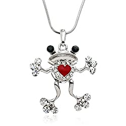 Silvertone Crystal Frog in Love with Heart Pendant Necklace