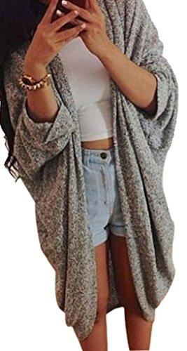 Minetom Donna Casual Maniche Lunghe Jumper Outwear Cappotto del Rivestimento del Knit Cardigan Grigio IT 40