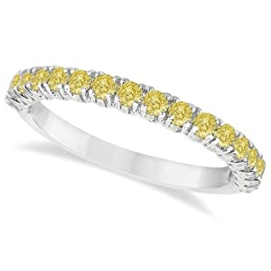 Allurez 0.75ctw Pave Set Fancy Yellow Diamond Ring Stackable Band in Palladium 5.75