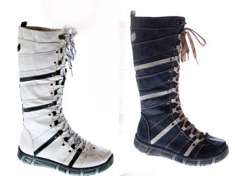 Designer Stiefel Damen Weiß Blau Schwarz Navi Schuhe gefüttert Winter Damenstiefel