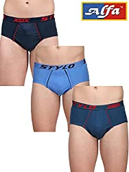 Alfa Stylo Frenchee Men's 100% Combed Cotton Brief OE (Pack of 3) - Assorted Color