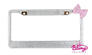 Bling Rhinestone Diamond License Plate Frame with Bow (Silver w Pink Bow) by Bling Cellular
