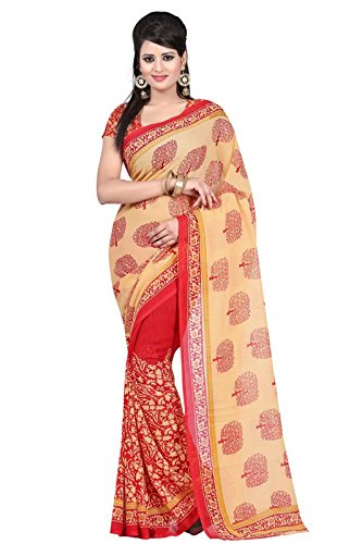 Sai Fab Women's Branded Indian Style Faux Georgette Beige Printed Elegant Saree With Blouse Piece ( Best Present For Mom, Sister, Wife, Friend, Girl Friend )  available at amazon for Rs.319