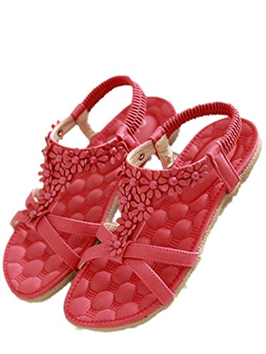 Women Bohemia Style Sandals Flower Beads T-Strap Flip Flop Flats Slip On Thong Refreshing Shoes (Rose Red, 11 B(M) US/42EU)