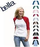 Bella Women's Baby Rib Contrast 3/4-Sleeve Raglan T-Shirt