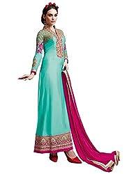 New Aqua & Magenta Georgette Designer Salwar Suit