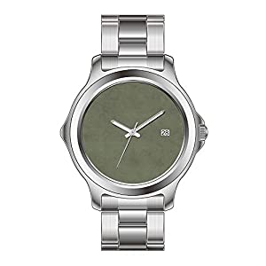 FYD Watch Man's Fashion Stainless Steel Band Watch Vintage Moss Green Parchment Personalized Template Wrist Watch