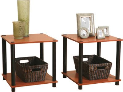 Momentum Furnishings PBF 0293 303 2 Piece Cherry Finish With Black Accents End Table Set