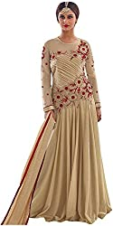 Go Traditional Women's Lycra Unstitched Dress Material (Beige)