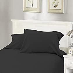 Flannel Sheet Set 4-Piece Solid Black Inc