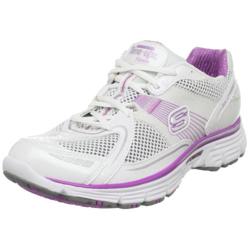 Skechers Women's Ready Set Tone Sports Shoe  White/Pink UK 7