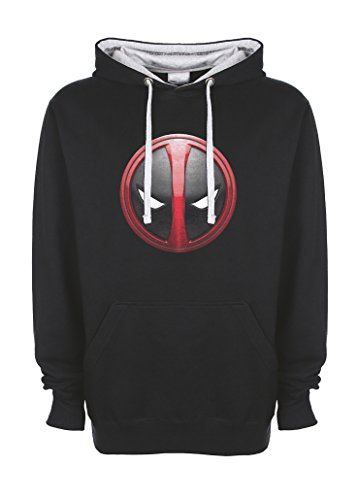Deadpool Head Logo Movie Nero / grigio Qualità Superiore Felpa con Cappuccio Unisex Large