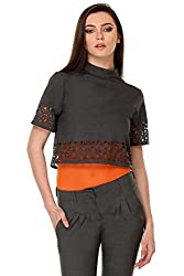 KAARYAH - Women Grey Half Sleeves Relaxed Fit Top