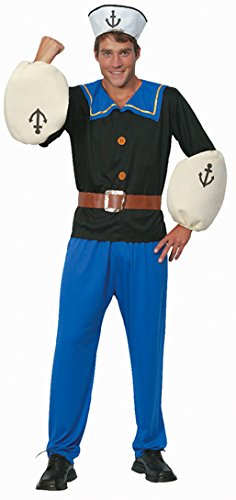 Popeye The Sailor Man Costume. The old Popeye cartoons were great fun to watch back in the day! This complete costume is excellent value and includes the sailor styletop, trousers, hat & arm pieces.