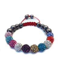 10-Ball Multi Colour Crystal Bead Shamballa Bracelet on Red Cord string ** EXCLUSIVE DESIGN **