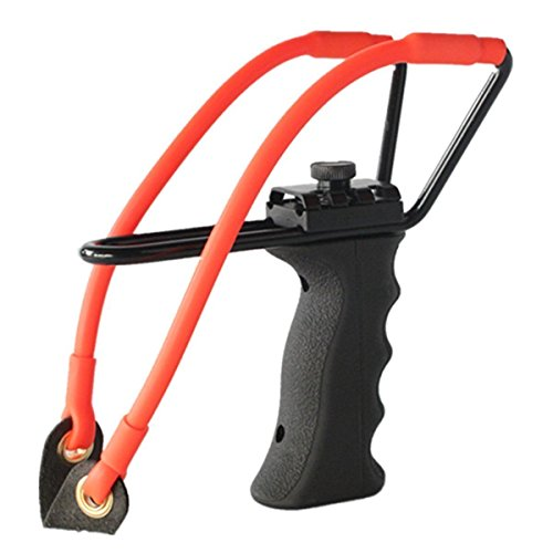 Professional Adjustable Hunting Steel Slingshot / Catapult by TigerSlingshots with Quality Rubber Bands, Launcher with Ergonomic Molded Handle Grip- 100% Tested (Chief Aj compare prices)