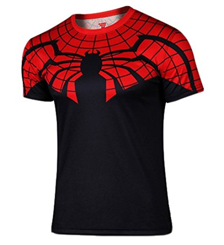 Carin Men's Batman Spiderman Superman Captain America Super Heroes Short T-shirt