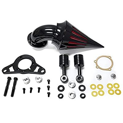 Harley Davidson Softail Night Train, Fat Boy, Cross Bones, Dyna, Super Glide, Street Bob, Low Rider, Fat Bob, Wide Glide, Touring, Road King, Street Glide, Road Glide, Electra Glide, Softail & Cross Bones Softail Cruiser High Quality Black Billet Aluminum Cone Spike Air Cleaner Kit Intake Filter Motorcycle (2001-2009)