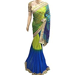 Multi color Designer Georgette With Embroidered Lace Saree.