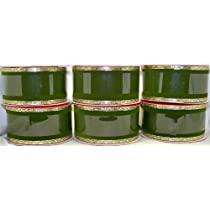 Green Velvet Wire Edged Ribbon with Gold trim Christmas 1.5 in. X 12 ft (6 pack - 72 feet total)