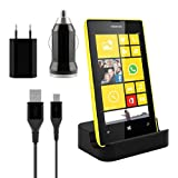 Kwmobile Micro USB docking station for Nokia Lumia 520 Black + high-quality charging set - premium design 500 mAh
