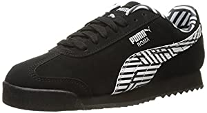PUMA Women's Roma NBK Sneaker, Black/White, 10.5 B US