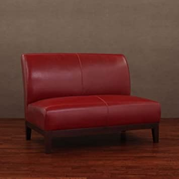 Burnt Red Leather Loveseat