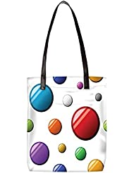 Snoogg Colorful Balls Womens Digitally Printed Utility Tote Bag Handbag Made Of Poly Canvas With Leather Handle