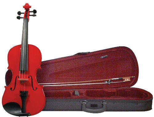Merano Mv200Rd 4/4 Full Size Color Violin With Case - Gloss Red Finish