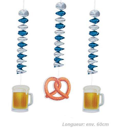 Spirales Bavière, 3 pièces par paquet, Oktoberfest, Déco', Fête, Fête de la bière