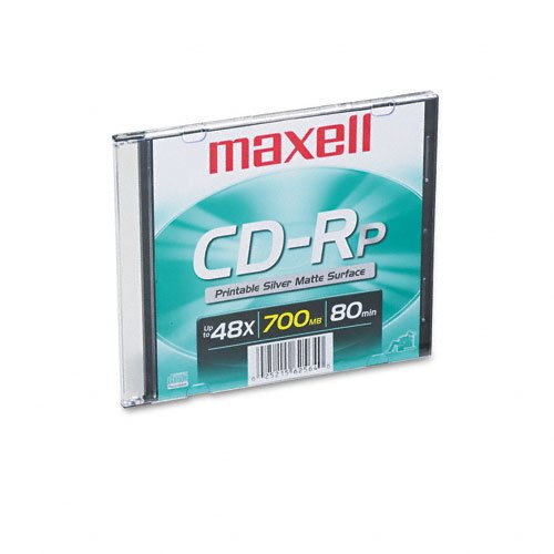 CD-R Disc, 700MB/80min, 48x, w/Slim Jewel Case, Printable Matte Silver