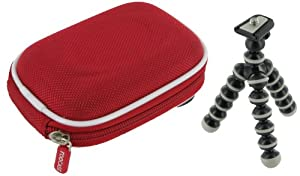 rooCASE 2n1 Nylon Hard Shell (Red) Memory Foam Carrying Case and Premium Tripod FujiFilm Fuji FinePix AX300 / AX305 Digital Camera