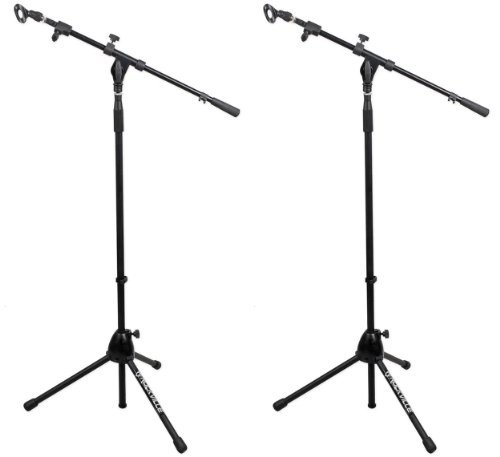 (2) Rockville Rvmic1 Telescoping Microphone Stands Dual Telescope Boom & Tripod Base