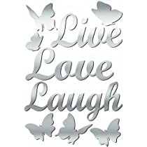 Lot 26 Studio ADD-HERES Adhesive Reflections-Mirror Live Love Laugh Wall Stickers 10.25 x 15-Inches
