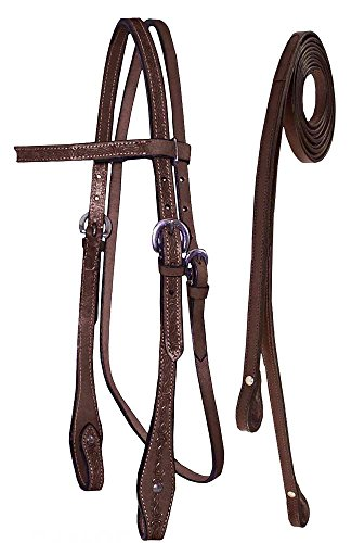 Tahoe Tack Barbwire Hand Tooled Horse Headstall with Split Reins, Mahogany, Full