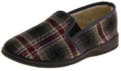 Mens DUNLOP Shoe Slippers Tartan Twin Gusset Faux Fur Lined Checkered Outdoor Sole Slipper Size 6