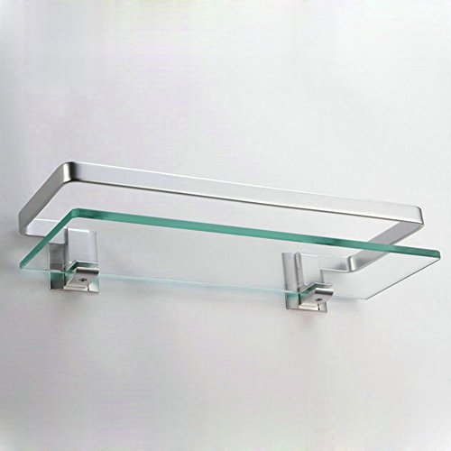 bathroom glass shelf with rail aluminum and extra thick tempered glass