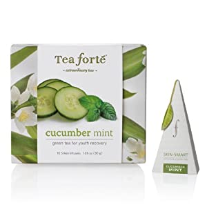 Tea Forte Petite Ribbon Box 10 Silken Pyramid Infusers Skin Smart Cucumber Mint by Tea Forte