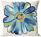 Blue Daisy Indoor/Outdoor Pillow (Set of two, 20 inch) - Made in the USA