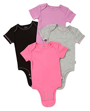 Disney Cuddly Bodysuit -  Fashion Basic 4 Pack: Marie Solids, Pink/Heather/Lilac/Black, 0-3 Months