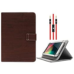 DMG Protective Flip Book Cover Stand View Case for Samsung Galaxy Tab 4 T231 7in Tablet (Brown) + 3.5mm Flat AUX Cable with Mic