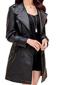 Helan Women's Long Slim Style PU Leat…