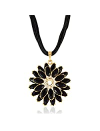 Black Flower Pendant Necklace Black Color Necklace By Sarah | Fashion Jewellery