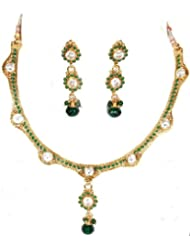 Exotic India Faux Emerald Polki Necklace And Earrings Set With Cut Glass - Copper Alloy With Cut Gla