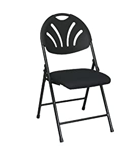 Folding Fan Back Chair with Black Plastic Back and Black Mesh Seat 4 Pack by Office Star Products