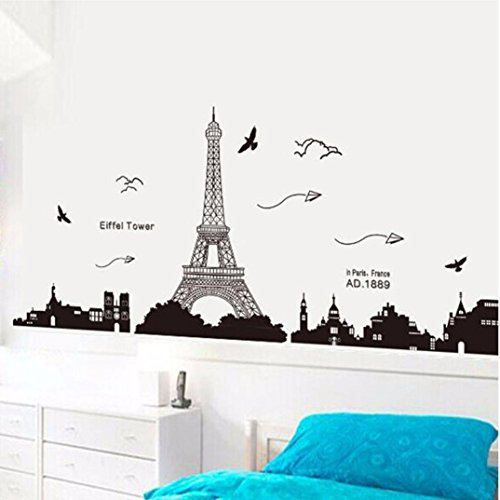 Ussore eiffel tower removable decor environmentally mural for Room decor eiffel tower