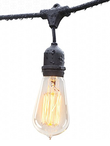 Outdoor String Lights (48ft) with Edison Bulbs - Heavy Duty Garden Hanging Market Patio Cafe Pergola Rope String Backyard Lights Pro Weatherproof Commercial Quality Lights 48 Feet Long (Commercial Door Blinds compare prices)