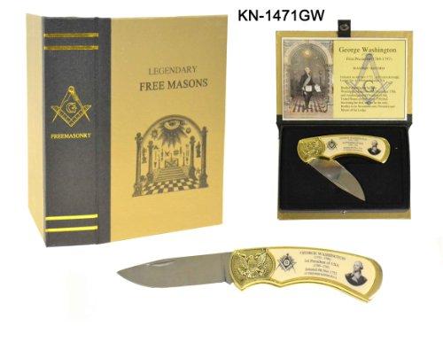 Miscellaneous George Washington Masonic Folding Knife,3in,Drop Point Blade,Smooth White KN-1471GW